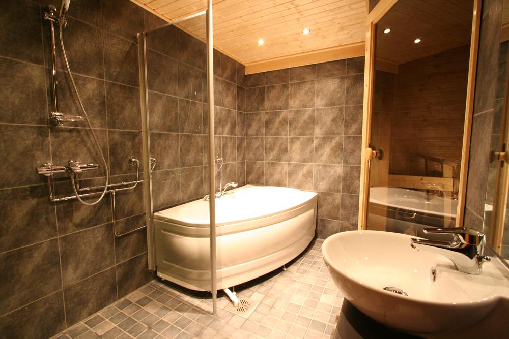 Bathroom with spa bath and sauna and WC